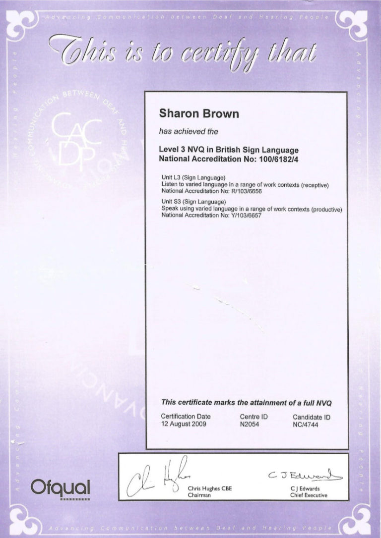 Certificates of training bsl enabling services british sign language qualifications xflitez Choice Image